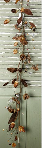 "Artificial Garland  - ""Acorns/Hydrangea Garland"" -  4 ft."