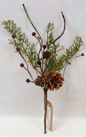 "Artificial Stem - ""Country Cedar Stem"" - 12"""