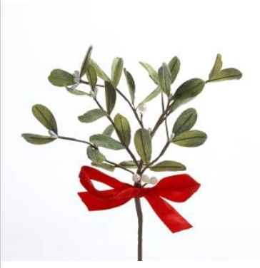 "Artificial Stem - ""Mistletoe  With A Red Bow"" - 10"""