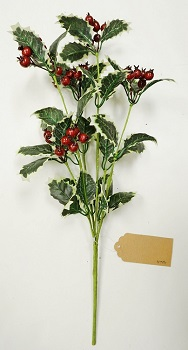 "Artificial Stem - ""Variegated Holly & Berry"""