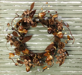 "Artificial Wreath - ""Acorns/Hydrangea Wreath"" - 20"""
