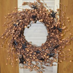 "Artificial Wreath - ""Black/Tan Berry And Star Wreath"" - 20"""