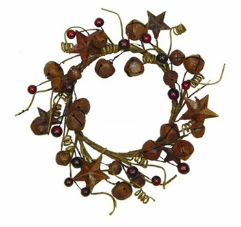 "Artificial Wreath  - ""Mix Star & Bell Wreath"" -  12"""