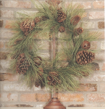 "Artificial Wreath  - ""Pine Wreath with Pinecones & Bells"" - 22"""