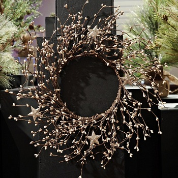 "Artificial Wreath - ""Platinum Pip Berry Wreath With Stars"" - 14"""