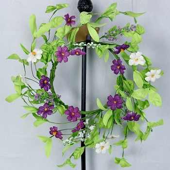 "Artificial Wreath - ""Purple Violet Wreath"" - 12"""