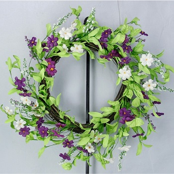 "Artificial Wreath - ""Purple Violet Wreath"" - 20"""
