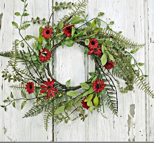 "Artificial Wreath - ""Red Aster Daisy Wreath"" -16"""