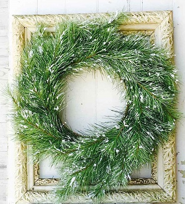 "Artificial Wreath - ""Silver Fir  Wreath With Snow"" - 24"""