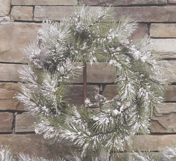 "Artificial Wreath - ""Snowy Pine Wreath with Pine Cones"" -  24"""