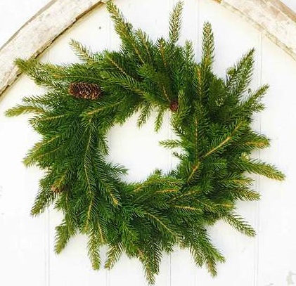 "Artificial Wreath - ""White Spruce Wreath"" - 17"""