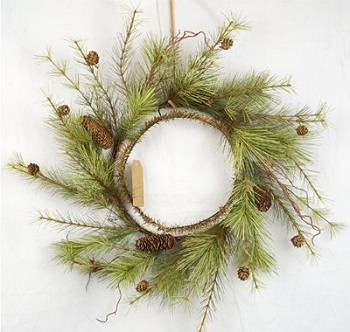 "Artificial Wreath - ""Woodland Pine Needle Wreath"" -24"""