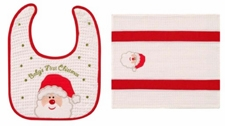 "Baby's First Christmas Gift Set - ""Baby's First Bib And Burp Cloth"""