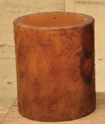 "Battery Operated Pillar Candle With Timer - ""Mustard Cinnamon"" - 3.5"""