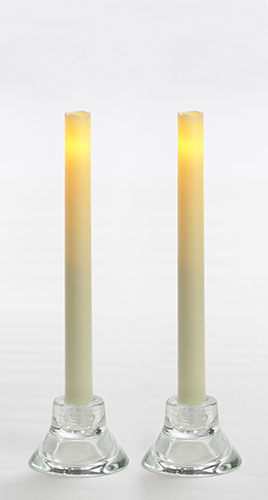 "Battery Operated Taper Candle - ""Cream Taper Candles - Battery Operated With Timer"" - Pack of 2"
