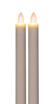 "Battery Operated Taper Candle -""White Battery Operated Taper Candle"" - 9"" 2 pack"
