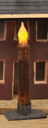 "Battery Operated Taper Candle With Timer -""Burnt Mustard Cinnamon"" - 6"""