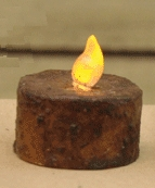 "Battery Operated Tea Light Candle - ""Burnt Mustard"""