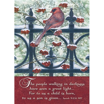 """Boxed Christmas Cards - """"Cardinal & Berries on Fence"""""""