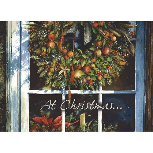 """Boxed Christmas Cards - """"Festive Wreath On Front Door"""""""
