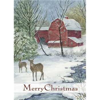 """Boxed Christmas Cards - """"Red Barn & Deer"""""""