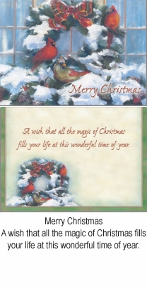 """Boxed Christmas Cards - """"Three Cardinals on Wreath"""""""