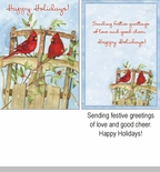 "Boxed Christmsa Cards -  ""Winter Birds and Sled"""