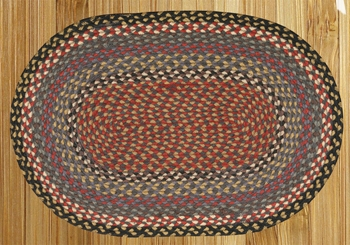 "Braided Miniature Oval - 10"" x 15"" - ""Burgundy/Blue/Gray"""