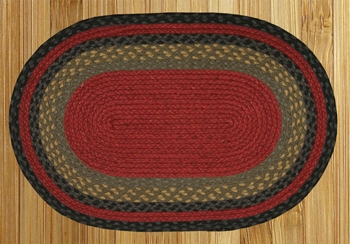 "Braided Miniature Oval - 10"" x 15""  - ""Burgundy/Olive/Charcoal"""