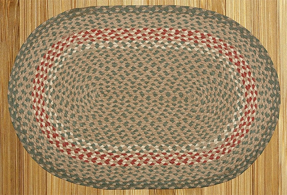 "Braided Miniature Oval - 10"" x 15"" - ""Green /Burgundy"""