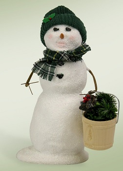 """Byers Choice Caroler - """"Snowman with A Bucket Of Greens"""""""