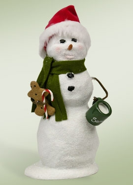 "Byers Choice Caroler - ""Snowman With A Santa Hat"""