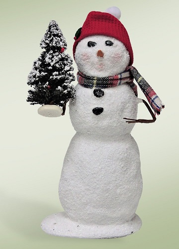 """Byers Choice Caroler - """"Snowman with a Snow Tree"""" 2016"""
