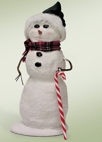 """Byers Choice Caroler - """"Snowman with Candy Cane"""" 2016"""