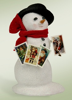 """Byers Choice Caroler - """"Snowman with Postcards"""""""
