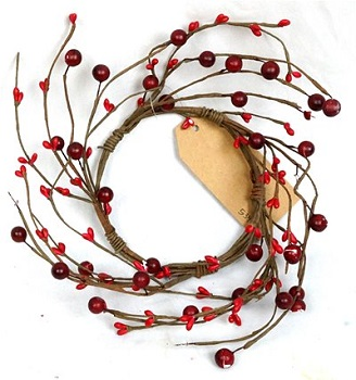 "Candle Ring - ""Red Combo Berry Candle Ring"" - 1.5"""