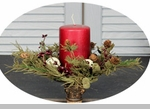 "Candle Ring - ""Country Pine With White Bell Candle Ring"" - 3.5"""