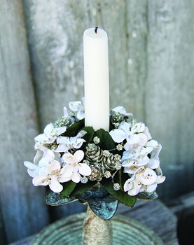 "Candle Ring - ""Hydrangea & Mini Pine Cone Candle Ring"" - 1"""