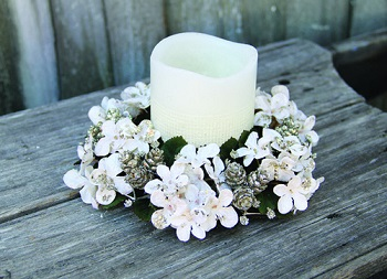 "Candle Ring - ""Hydrangea &  Mini Pine Cone Candle Ring"""
