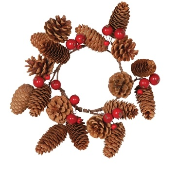 "Candle Ring - ""Pine Cone And Red Berry Candle Ring"" - 4.25"""