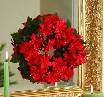 "Candle Ring - ""Red Poinsettia Candle Ring"" - 6"""