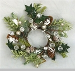"Candle Ring - Snowy Feather Pine"" - 6"""