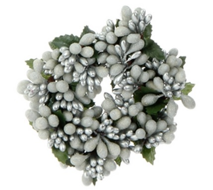 "Candle Ring - ""White/Silver Berry Candle Ring"" - 2"""