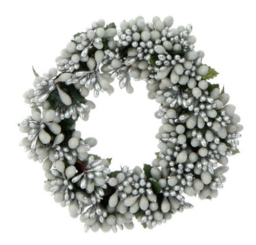 "Candle Ring - ""White/Silver Berry Candle Ring"" - 3"""