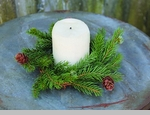 "Candle Ring - ""White Spruce With Pine Cones Candle Ring"" - 3.75"""