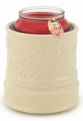 "Candle Warmer  - ""Electric Large Jar Candle Warmer""  - Embossed Cream"