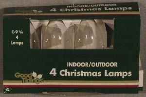 "Christmas Lights - ""C9 Replacement Bulbs - Clear"" - Box of 4"