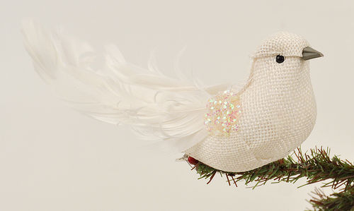 "Christmas Ornament - ""Bird Ornament"" - White"