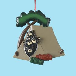 "Christmas Ornament - ""Black Bear Family In A Tent Ornament"""