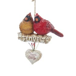 "Christmas Ornament - ""Cardinal Pair On A Birch Branch"""